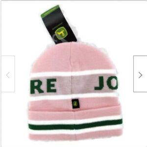 John Deere beanie cap toboggan hat pink